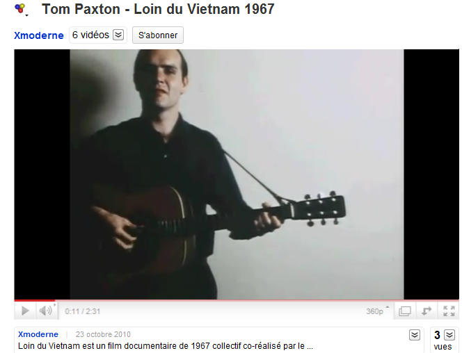 YouTube - Tom Paxton - Loin du Vietnam 1967